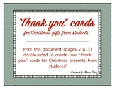 """Thank you!"" Cards for Christmas Presents from Students"