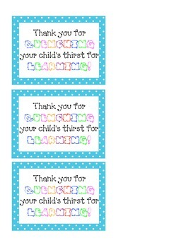Parent Gift - Back to School Night - Water Bottle Tag