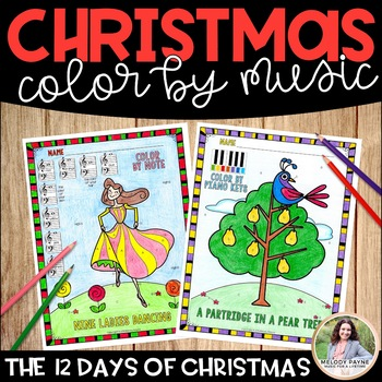Music Coloring Sheets 12 Days Of Christmas Color By Music Symbol
