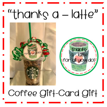 'Thanks a - latte' Coffee Gift Tags