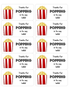 """""""Thanks for Popping In"""" Popcorn Bag Labels"""