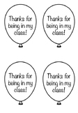 'Thanks for being in my class!' balloon label