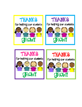 """Thanks for helping our students grow"" Tags"