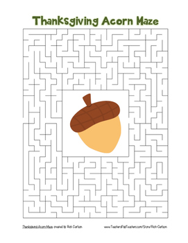 """""""Thanksgiving Acorn"""" Maze! Holiday FUN! (Color and Black Line)"""