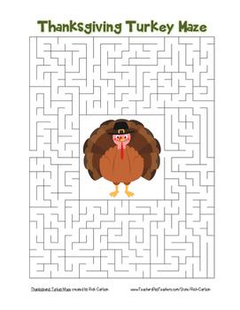 """Thanksgiving Bundle of 30 Mazes""! SAVE 80%! Holiday FUN!"