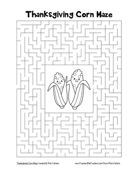 """Thanksgiving Corn"" Maze! Holiday FUN! (Color and Black Line)"