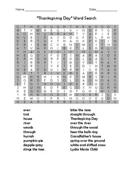 """Thanksgiving Day"" Poem, Word Search, and Quiz"
