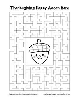 """""""Thanksgiving Happy Acorn"""" Maze! Holiday FUN! (Color and Black Line)"""