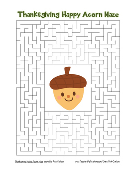 """""""Thanksgiving Happy Acorn"""" Maze! Holiday FUN! (Color and B"""
