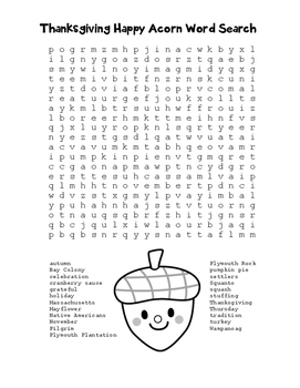 """Thanksgiving Happy Acorn"" Word Search!  Holiday FUN! (Color & Black Line)"