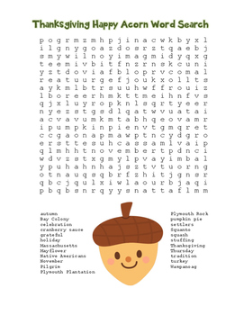 """Thanksgiving Happy Acorn"" Word Search!  Holiday FUN! (Col"