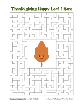 """""""Thanksgiving Happy Leaf 1"""" Maze! Holiday FUN! (Color and Black Line)"""