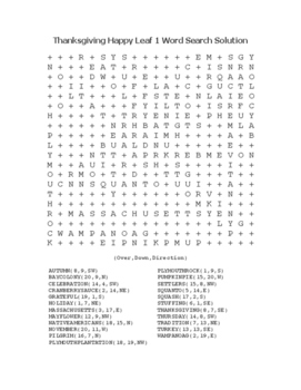 """Thanksgiving Happy Leaf 1"" Word Search!  Holiday FUN! (Color & Black Line)"