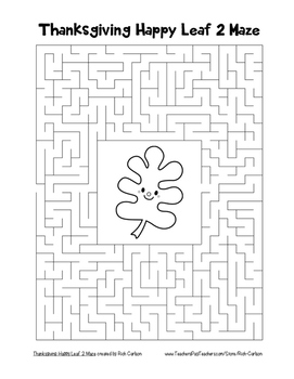 """""""Thanksgiving Happy Leaf 2"""" Maze! Holiday FUN! (Color and Black Line)"""