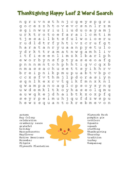 """Thanksgiving Happy Leaf 2"" Word Search!  Holiday FUN! (Color & Black Line)"