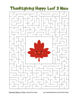 """""""Thanksgiving Happy Leaf 3"""" Maze! Holiday FUN! (Color and Black Line)"""