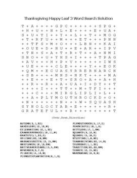 """""""Thanksgiving Happy Leaf 3"""" Word Search!  Holiday FUN! (Color & Black Line)"""