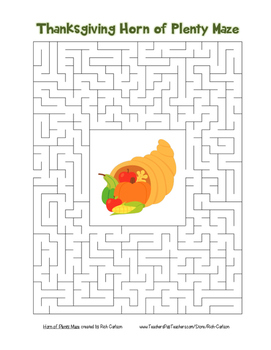 """Thanksgiving Horn of Plenty"" Maze!  Holiday FUN! ( Color and Black Line)"