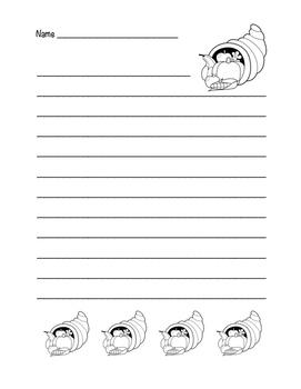 """Thanksgiving Horn of Plenty"" Writing Sheets!  Holiday FUN! (Black Line)"