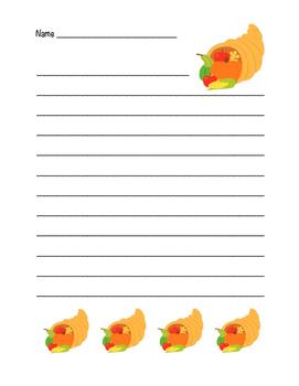 """Thanksgiving Horn of Plenty"" Writing Sheets! Holiday FUN!"