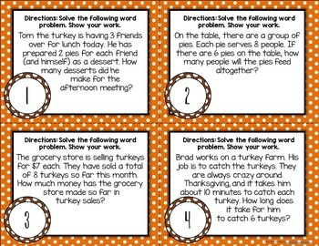 {Thanksgiving} Multiplication Word Problem Task Cards