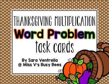 {Thanksgiving} Multiplication Word Problem Task Cards