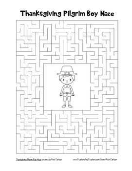 """Thanksgiving Pilgrim Boy"" Maze! Holiday FUN! (Color and Black Line)"