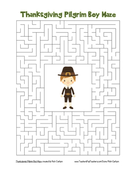 """Thanksgiving Pilgrim Boy"" Maze! Holiday FUN! (Color and B"