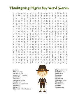 """Thanksgiving Pilgrim Boy"" Word Search!  Holiday FUN! (Color & Black Line)"