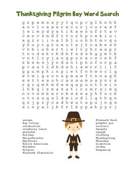 """Thanksgiving Pilgrim Boy"" Word Search!  Holiday FUN! (Col"