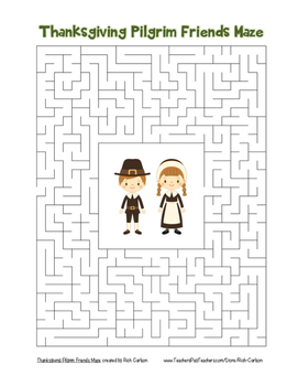 """Thanksgiving Pilgrim Friends"" Maze! Holiday FUN! (Color and Black Line)"