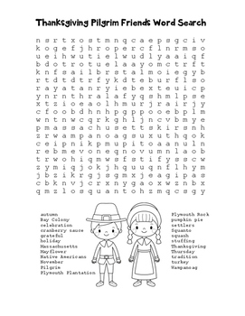 """Thanksgiving Pilgrim Friends"" Word Search!  Holiday FUN! (Color & Black Line)"