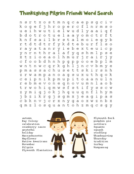 """""""Thanksgiving Pilgrim Friends"""" Word Search!  Holiday FUN! (Color & Black Line)"""