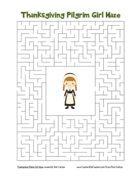 """Thanksgiving Pilgrim Girl"" Maze! Holiday FUN! (Color and Black Line)"