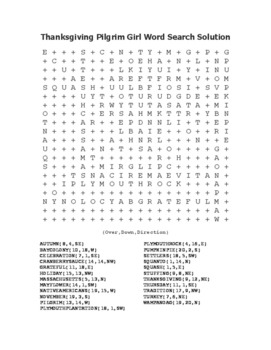 """Thanksgiving Pilgrim Girl"" Word Search!  Holiday FUN! (Color & Black Line)"