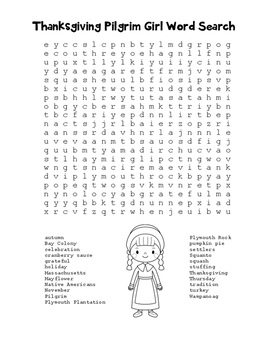 """""""Thanksgiving Pilgrim Girl"""" Word Search!  Holiday FUN! (Color & Black Line)"""