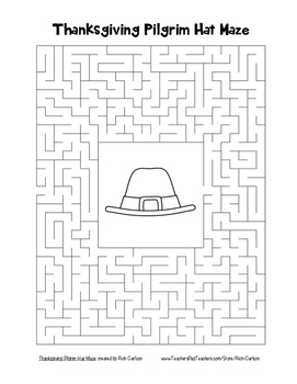 """""""Thanksgiving Pilgrim Hat"""" Maze!  Holiday FUN!  (Color and Black Line)"""