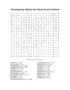 """Thanksgiving Pilgrim Hat"" Word Search!  Holiday FUN! (Color & Black Line)"