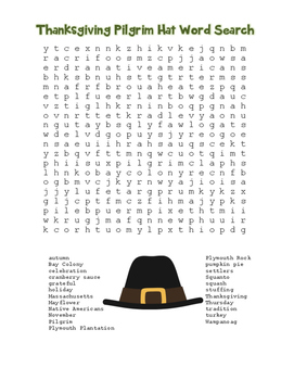 """""""Thanksgiving Pilgrim Hat"""" Word Search!  Holiday FUN! (Color & Black Line)"""