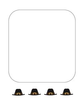 """Thanksgiving Pilgrim Hat"" Writing Sheets!  Holiday FUN! (Color)"