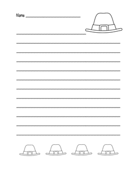 """Thanksgiving Pilgrim Hat"" Writing Sheets!  Holiday FUN! (Color and Black Line)"