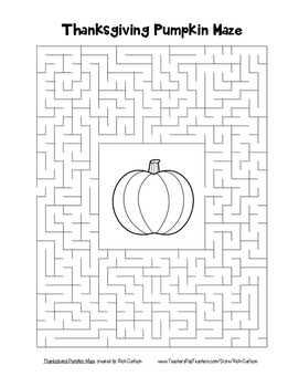 """Thanksgiving Pumpkin"" Maze!  Holiday FUN! (Color and Black Line)"