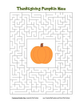 """""""Thanksgiving Pumpkin"""" Maze!  Holiday FUN! (Color and Black Line)"""