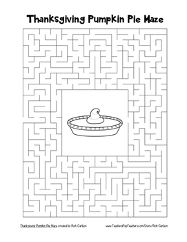 """Thanksgiving Pumpkin Pie"" Maze!  Holiday FUN! (Color and Black Line)"