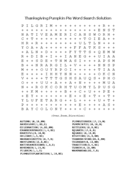 """""""Thanksgiving Pumpkin Pie"""" Word Search!  Holiday FUN! (Color & Black Line)"""