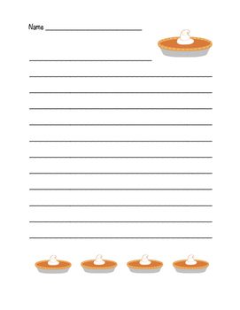 """Thanksgiving Pumpkin Pie"" Writing Sheets!  Holiday FUN! (Color)"