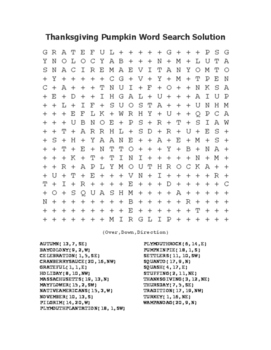 """""""Thanksgiving Pumpkin"""" Word Search!  Holiday FUN! (Color & Black Line)"""