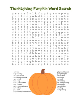 """Thanksgiving Pumpkin"" Word Search!  Holiday FUN! (Color &"
