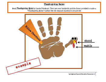 """""""Thanksgiving Rules"""" Hand print Activity"""
