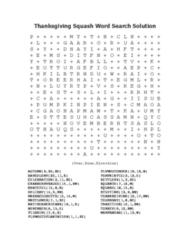 """""""Thanksgiving Squash"""" Word Search!  Holiday FUN! (Color & Black Line)"""